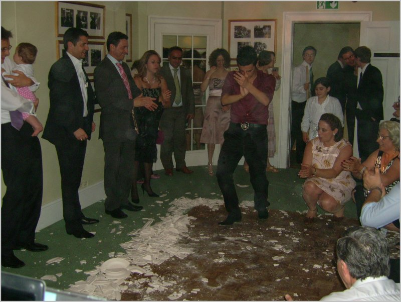 Greek wedding at Richmond Park Priory smashing plates