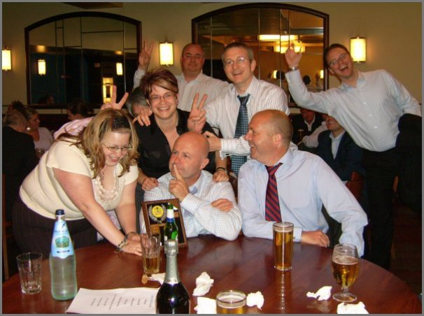 corporate mobile quiz party night winners with toffs quiz